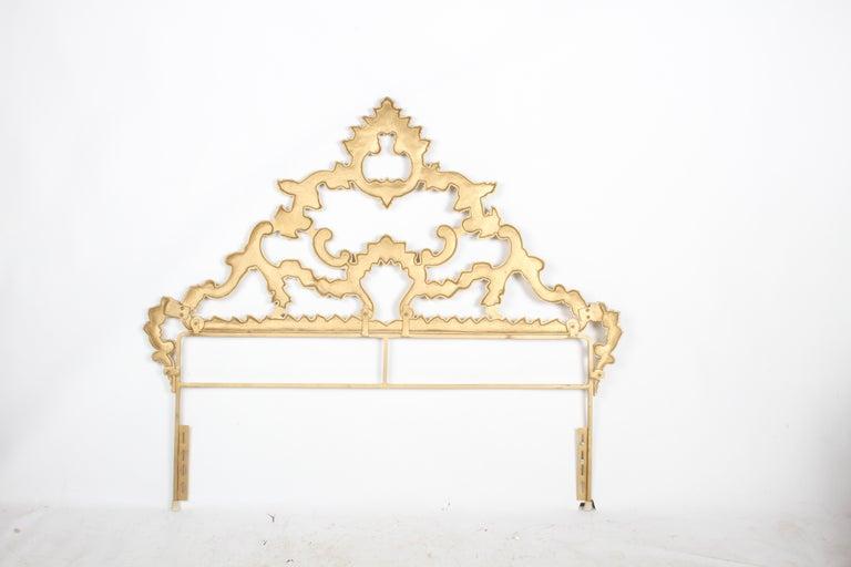 1960s Rococo Style Italian Gold Metal Full Size Headboard For Sale 5