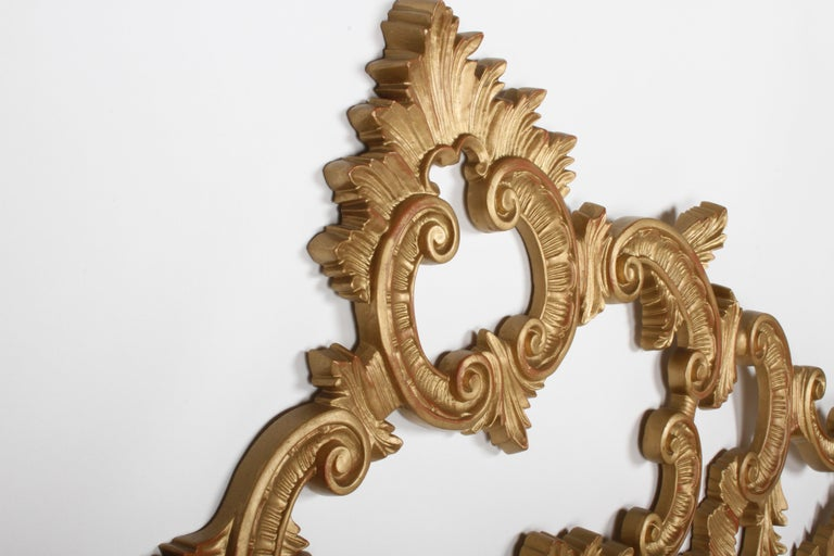 Hollywood Regency 1960s Rococo Style Italian Gold Metal Full Size Headboard For Sale