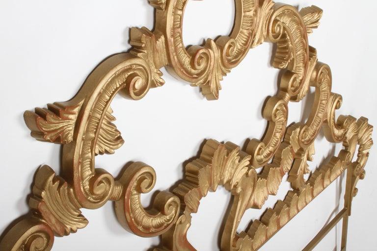 1960s Rococo Style Italian Gold Metal Full Size Headboard For Sale 1