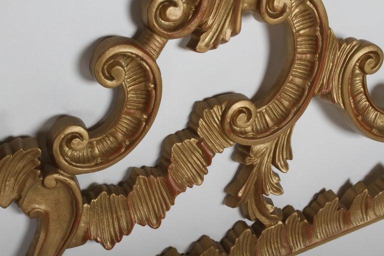 1960s Rococo Style Italian Gold Metal Full Size Headboard For Sale 2