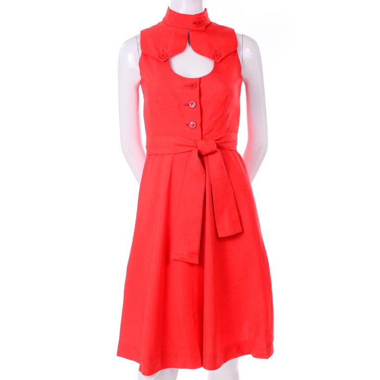 1960s Rodrigues New W Tags Vintage Orange Red Silk Dress w Keyhole Opening In New Condition For Sale In Portland, OR
