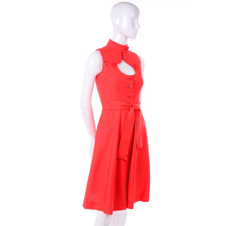 Women's 1960s Rodrigues New W Tags Vintage Orange Red Silk Dress w Keyhole Opening For Sale