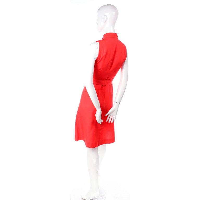 1960s Rodrigues New W Tags Vintage Orange Red Silk Dress w Keyhole Opening For Sale 1