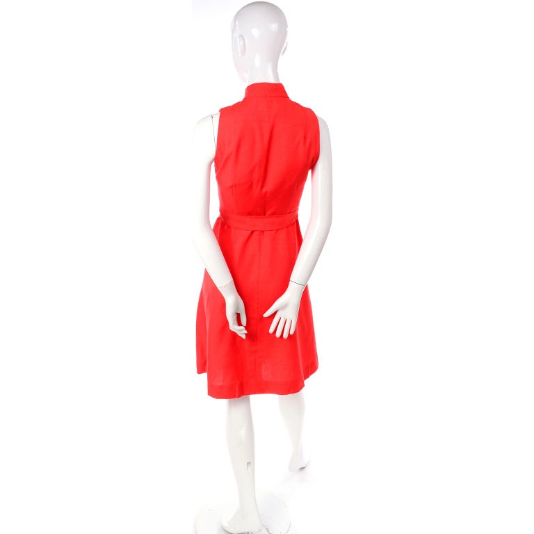 1960s Rodrigues New W Tags Vintage Orange Red Silk Dress w Keyhole Opening For Sale 2