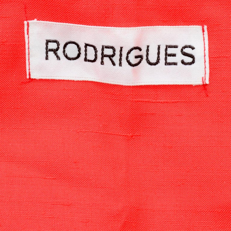 1960s Rodrigues New W Tags Vintage Orange Red Silk Dress w Keyhole Opening For Sale 5