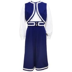 1960s Roger Frères Blue and White Culotte Ensemble