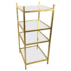 1960s Roger Thibier Gilt Wrought Iron Gold Leaf Shelf