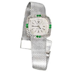 1960s Rolex 18 Karat White Gold Emerald Diamond Set Wristwatch / Bracelet Watch