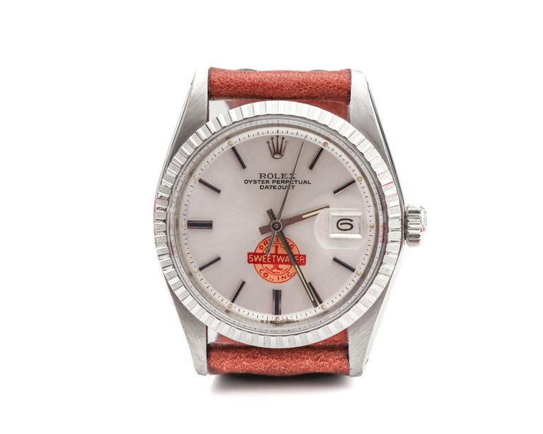 1960s Rolex Features a Sweetwater Dial, very unique! Vintage watch Comes on a custom tan leather strap 36 millimeter case