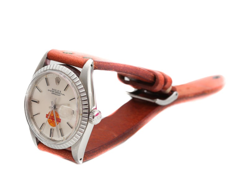 1960s Rolex Datejust with Sweetwater Dial In Excellent Condition For Sale In New York, NY