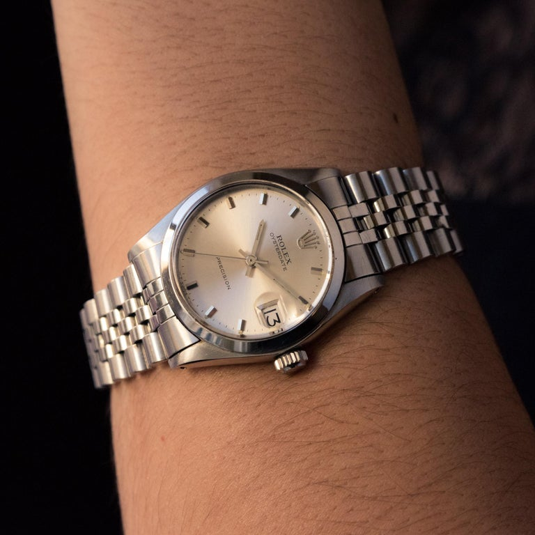 1960s Rolex Oysterdate Precision Automatic Men's Watch For Sale 8