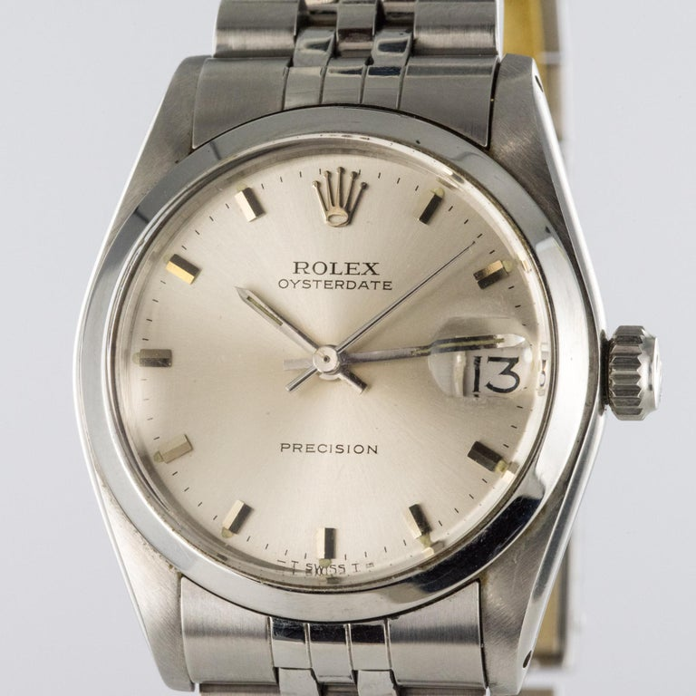 1960s Rolex Oysterdate Precision Automatic Men's Watch For Sale 1