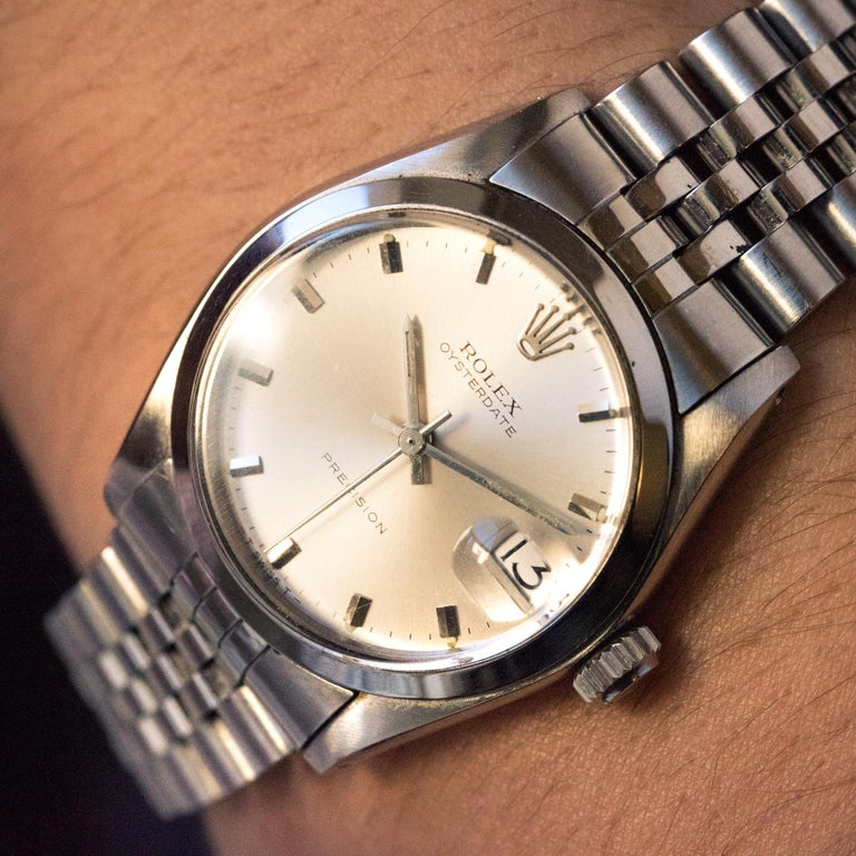 1960s Rolex Oysterdate Precision Automatic Men's Watch For Sale 4