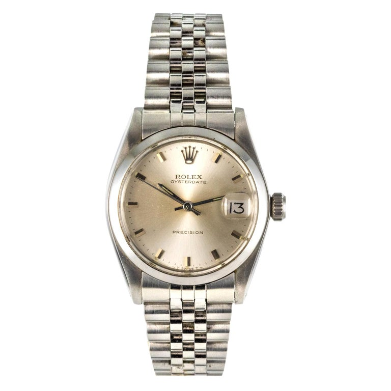 1960s Rolex Oysterdate Precision Automatic Men's Watch For Sale