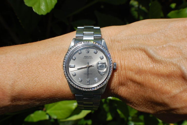 Round Cut Rolex Oysterdate Precision Watch Diamond Bezel and Dial Silver Mint For Sale
