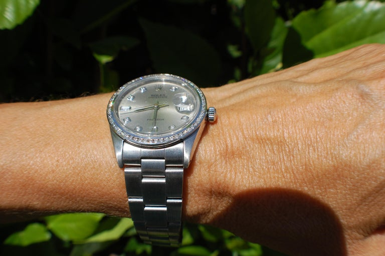 Rolex Oysterdate Precision Watch Diamond Bezel and Dial Silver Mint In Good Condition For Sale In Laguna Hills, CA