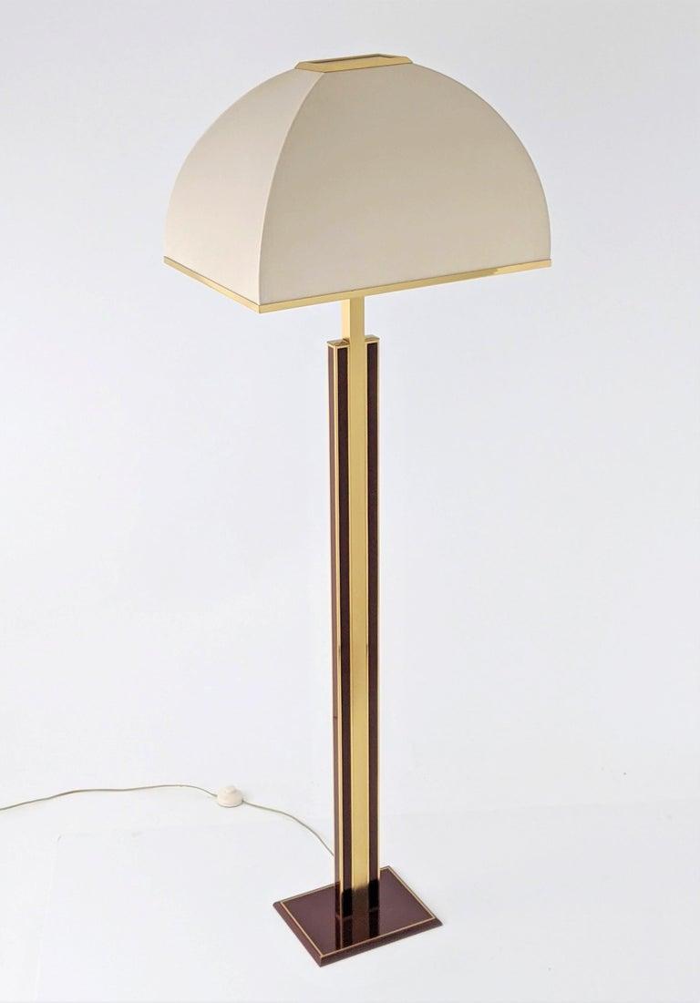 Italian 1960s Romeo Rega Massive Brass Floor Lamp, Italia For Sale