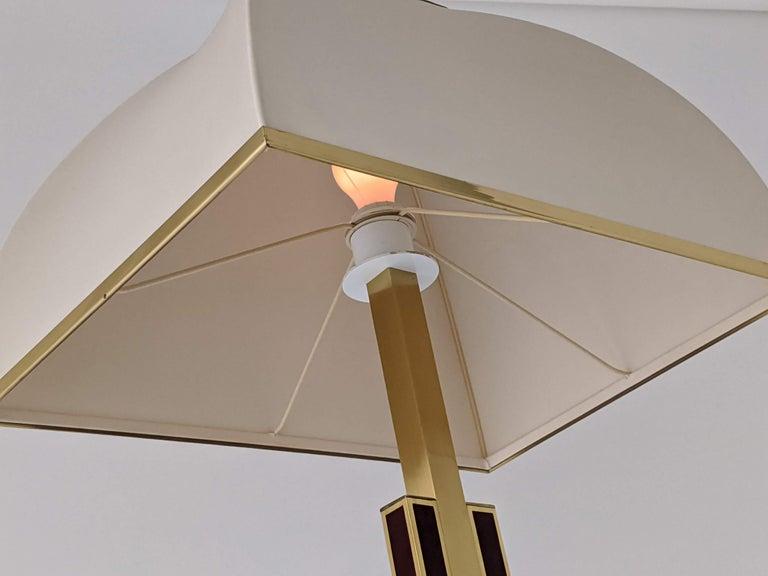Lacquer 1960s Romeo Rega Massive Brass Floor Lamp, Italia For Sale