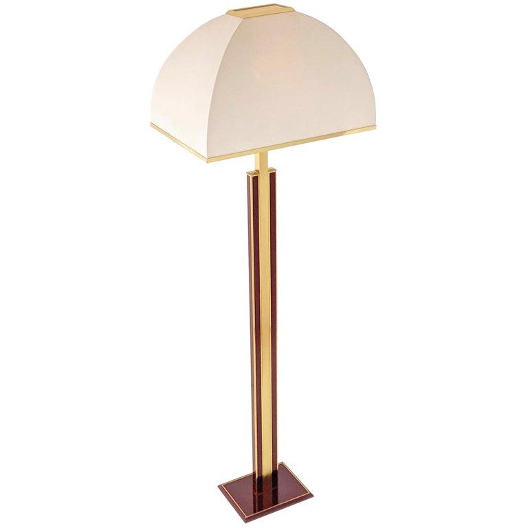 1960s Romeo Rega Massive Brass Floor Lamp, Italia For Sale