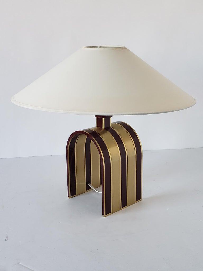 Mid-20th Century 1960s Romeo Rega Solid Brass Table Lamp, Italia For Sale