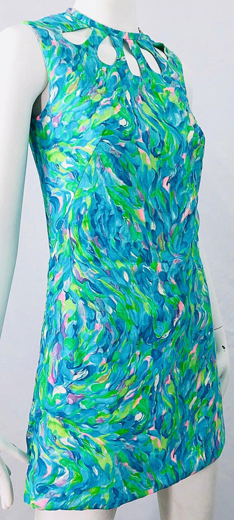 1960s Romper Watercolor Pastel Cut Out Cotton Vintage 60s Shift Dress Jumpsuit For Sale 6