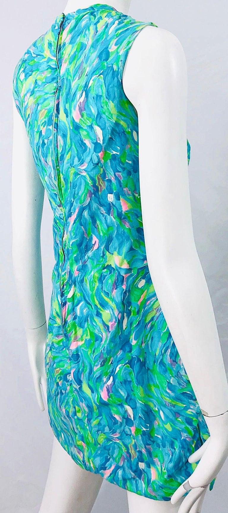 1960s Romper Watercolor Pastel Cut Out Cotton Vintage 60s Shift Dress Jumpsuit For Sale 7