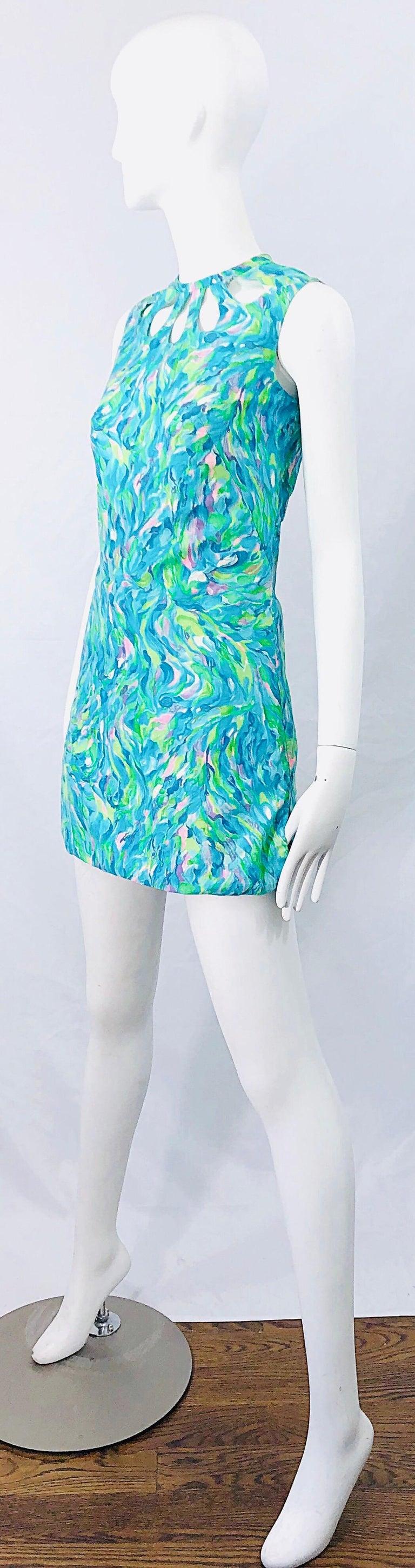 1960s Romper Watercolor Pastel Cut Out Cotton Vintage 60s Shift Dress Jumpsuit For Sale 1