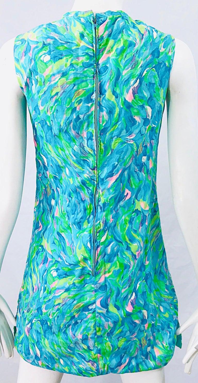 1960s Romper Watercolor Pastel Cut Out Cotton Vintage 60s Shift Dress Jumpsuit For Sale 5