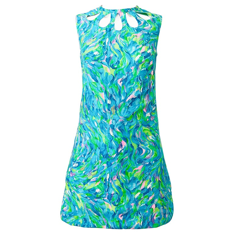 1960s Romper Watercolor Pastel Cut Out Cotton Vintage 60s Shift Dress Jumpsuit For Sale