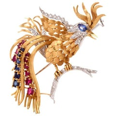 1960s Rooster Diamond Ruby Sapphire 18 Karat Gold Bird Pin Brooch