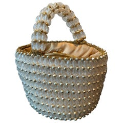 1960s Rosenfeld Italian Lucite Beaded Resort Hand Basket Purse W/ Lamé Crochet