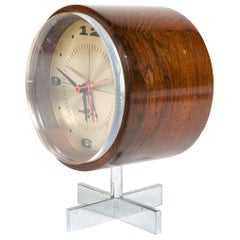 1960s Rosewood Desk Clock by Arthur Umanoff for Howard Miller