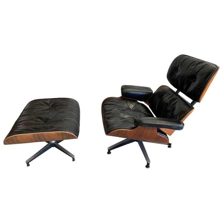1960s Rosewood Eames Lounge Chair and Ottoman For Sale