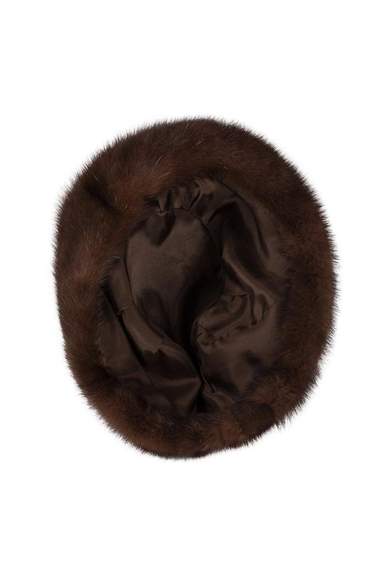 1960s Round Deep Chocolate Brown Genuine Mink Fur Hat For Sale 4