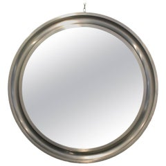 1960s Round Mirror, Aluminium Moulding Frame, Sergio Mazza for Artemide, Italy