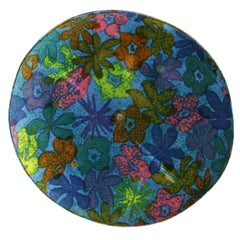 1960s Round Pouf on Casters in Original Floral Fabric by Jack Lenor Larsen