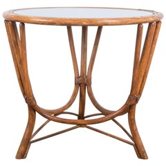 1960s Round Rattan Coffee Table