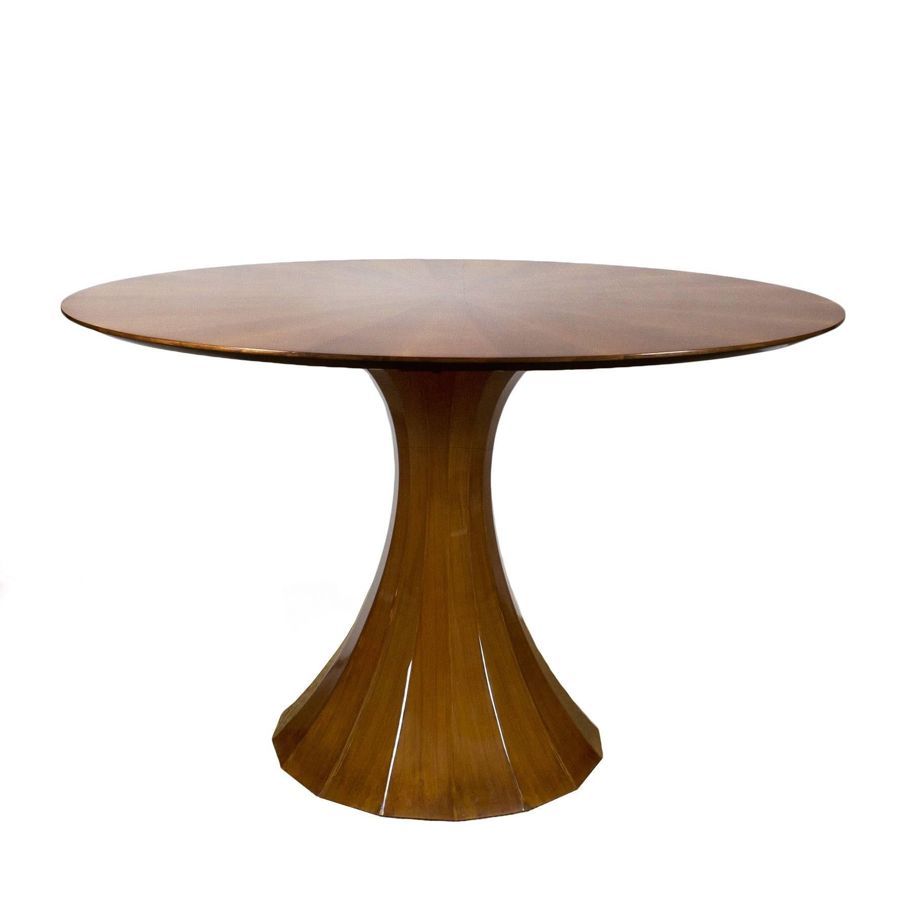 1960s Round Table, Polygonal Central Stand, Walnut Veneer, Italy