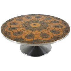 1960s Round Tile-Top Coffee Table by Lilly Just Lichtenberg for Poul Cadovius