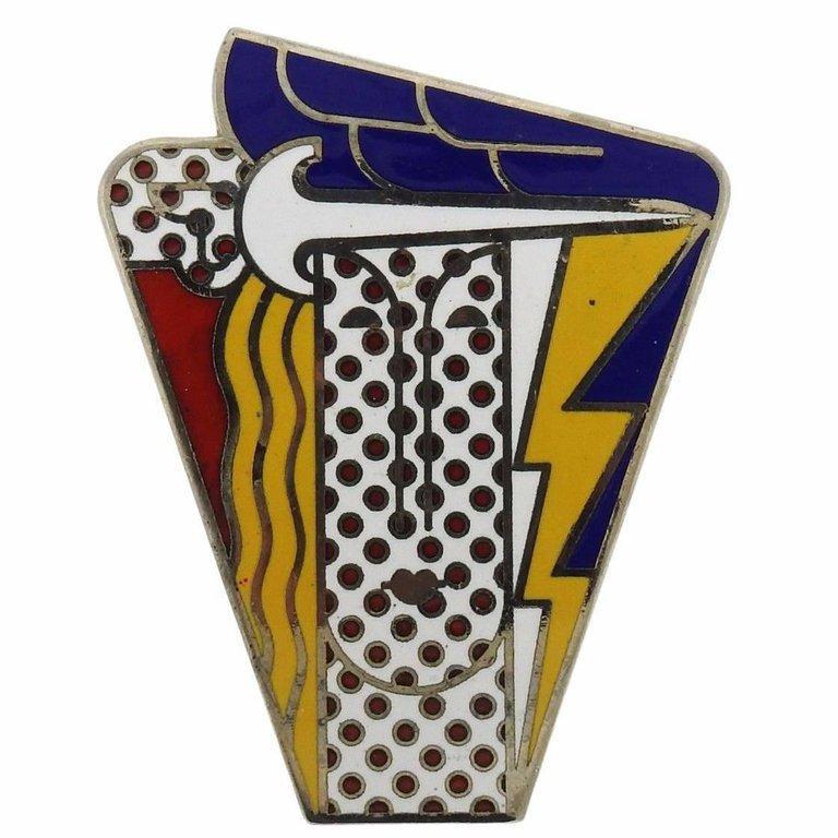 Women's or Men's 1960s Roy Lichtenstein Metal Enamel Modern Head Large Brooch Pin For Sale