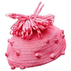 1960s Royal Milliner Simone Mirman Straw Bobble Hat