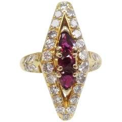 1960s Ruby and Diamond Ring, 1.50 Carat Diamonds, 18 Karat