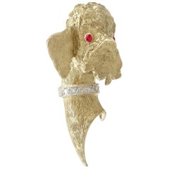 1960s Ruby and Diamond Yellow Gold Poodle Brooch