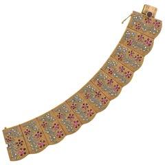 1960s Ruby Diamond Rose Gold Bracelet