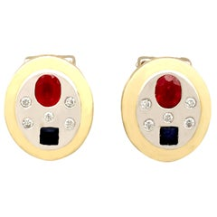 1960s Ruby Sapphire and Diamond and Yellow Gold Earrings