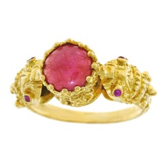 1960s Ruby Set Gold Double Snake Ring