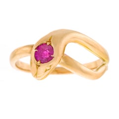 1960s Ruby Set Gold Snake Ring