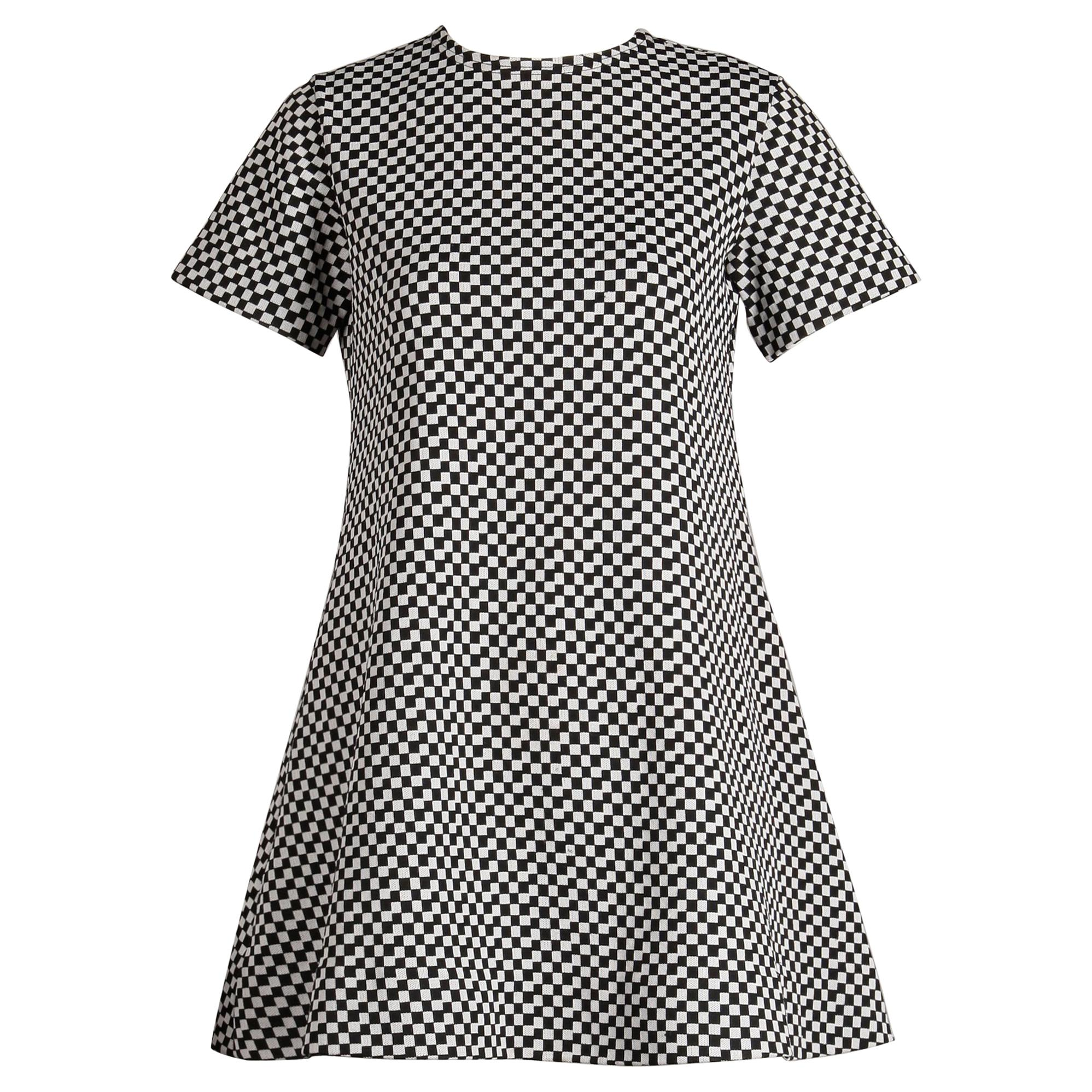 1960s Rudi Gernreich/ Harmon Knitwear Vintage Mod B&W Checker Mini Dress