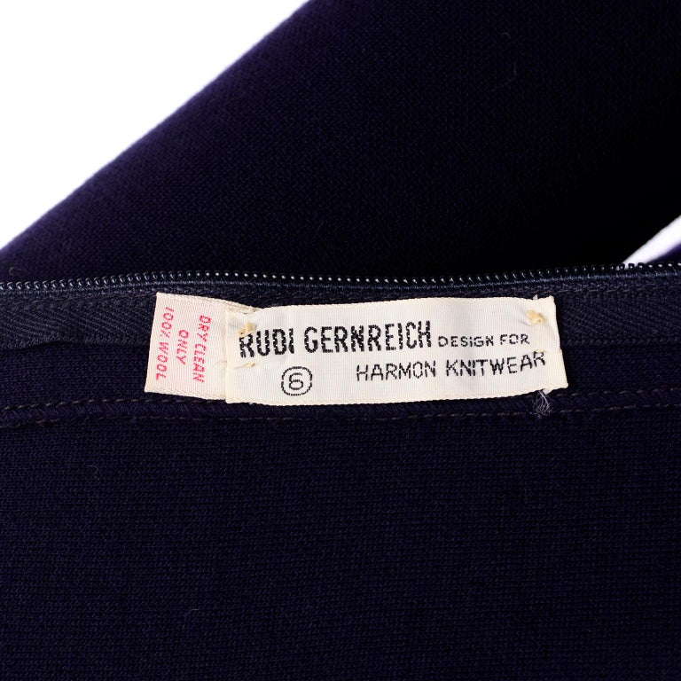 1960s Rudi Gernreich Navy Blue Wool Knit Vintage Dress With Cutout Shoulders For Sale 5