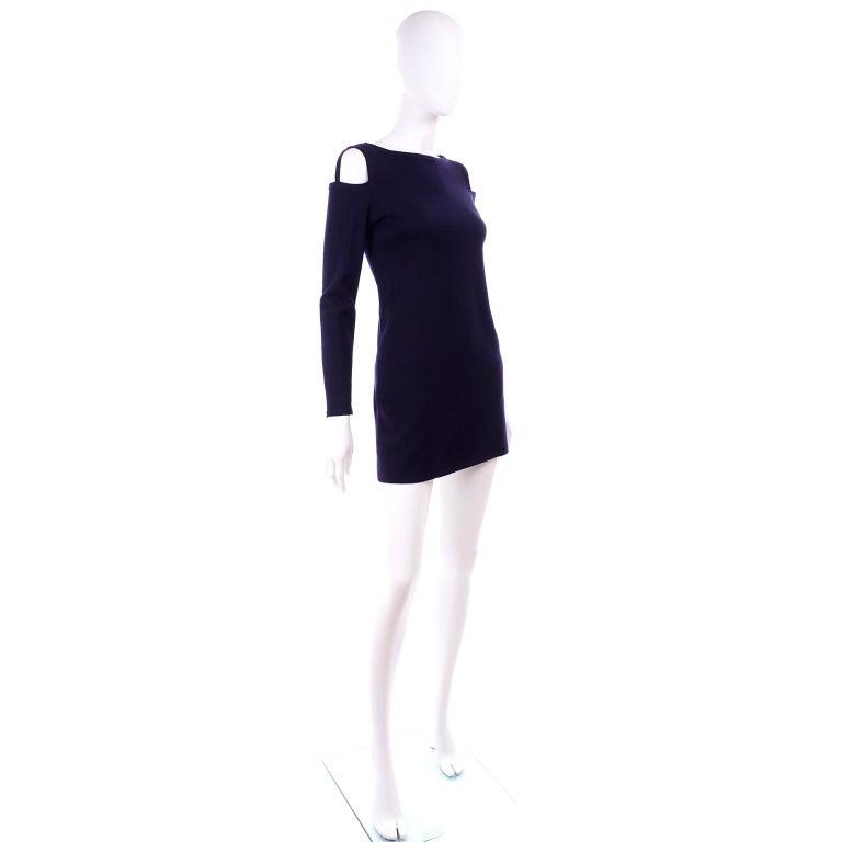 Black 1960s Rudi Gernreich Navy Blue Wool Knit Vintage Dress With Cutout Shoulders For Sale